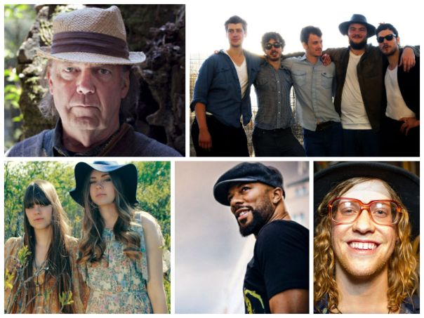 Clockwise from Top Left: Neil Young, Felice Bros, Allen Stone, Common, and The First Aid Kit